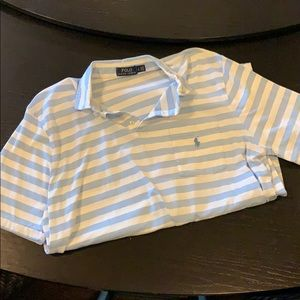 Striped Baby Blue and white Polo by Ralph Lauren